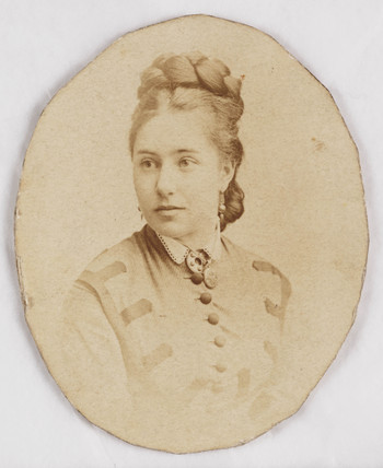 Portrait photograph of a woman with plaited hair, c 1860.