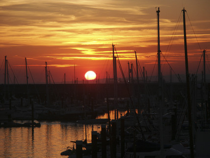 Brighton Marina at sunset, 2004.