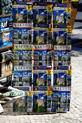 Travel guides on a newsstand, Lisbon, 2005.