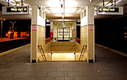 Finchley Road tube station at night, London, 2005.