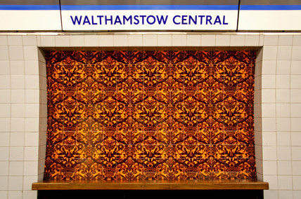 William Morris tiles, Walthamstow Central tube station, London, 2005.
