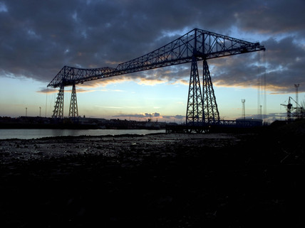 Middlesbrough Transporter Bridge from the banks of the Tees at dusk, 2005