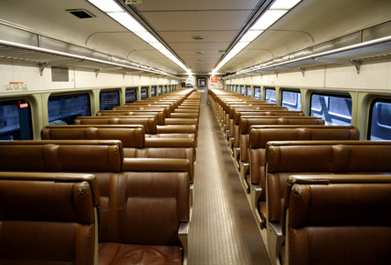 NJ Transit train carriage interior, New Jersey, USA, 2005.