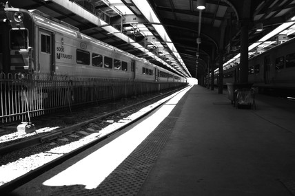 Train at a platform, Hoboken Station, New Jersey, USA, 2005.