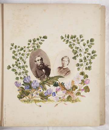 Page from an album with two portrait photographs, c 1860.