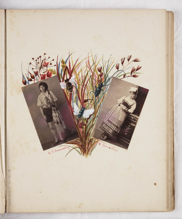 Page from album with two portrait photographs, c 1860.