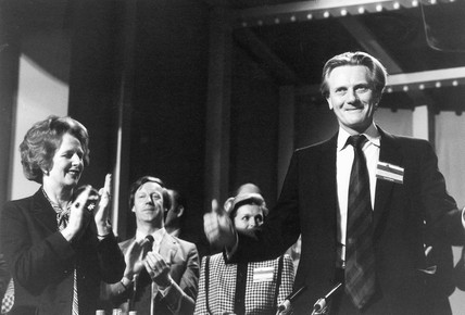 Margaret Thatcher applauding Michael Heseltine