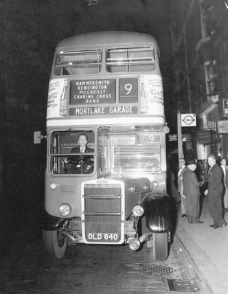 Number 9 bus, London, 1960s.
