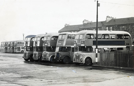 Bus Depot Glasgow 1960s At Science And Society Picture Library