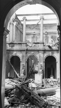 Liverpool Museum after a German bombing raid, May 1941.