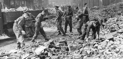 Soldiers clearing bomb damage, Liverpool, 1941.