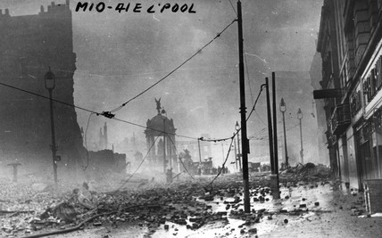 Lord Steet in Liverpool after a German bombing raid, 1940s.