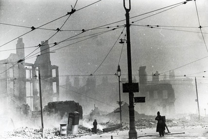 Derby Square in Liverpool after a German bombing raid, 1940s.
