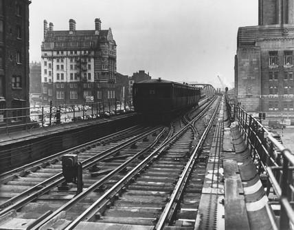 Liverpool Overhead Railway, February 1955.