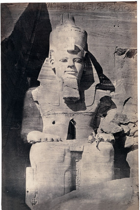 'Colossal figure of Rameses II at the grand temple in Abou Simbel', 1857.
