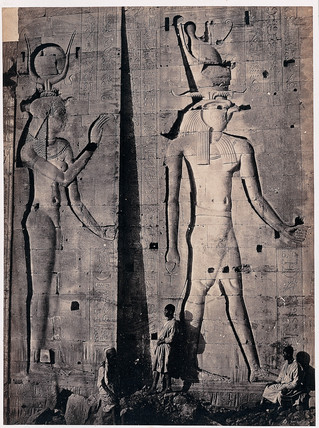 'Colossal sculptures, Horus and Isis, at Philae, the Great Temple', 1857.