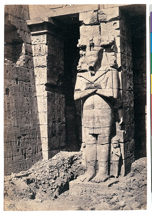'Thebes, Osiride Pillar at Medinet Haboo', 1858-1859.