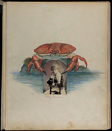 Harry Benson and crab, c 1860s.