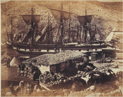 'The Harbour at Balaclava. The Cattle Pier, Crimea, Russia', 1855.
