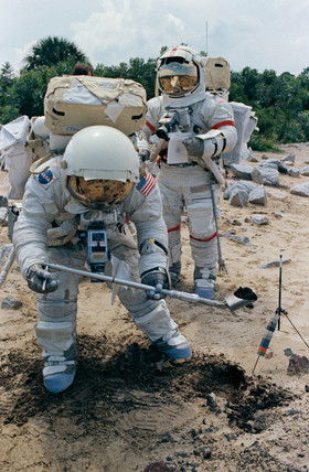 Training for a lunar mission, c 1972.