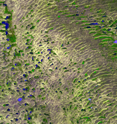Sand Hills, Nebraska, from space, c 2000.