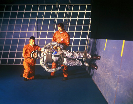 Astronaut training in simulated lunar gravity, 1964.