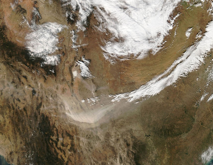 Dust storms in Texas from space, 2005.