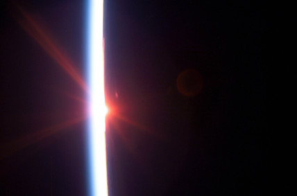 Sunrise in space, August 2005.