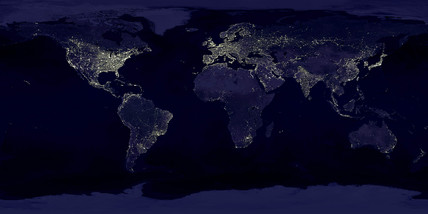 Light emitted from urban areas in the world, c 2005.