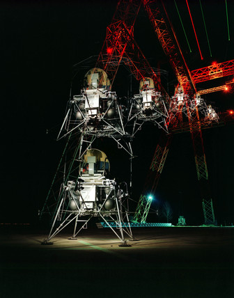 Multiple exposure image of the Lunar Lander, 1967.