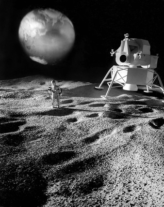 Model of lunar landscape with space module, 1965.
