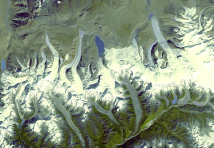 The Himalayas from space, Bhutan, 2000.