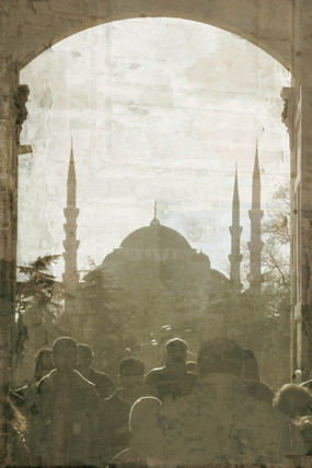 The Sultan Ahmet Mosque seen through the portal of the Seraglio, c 2004.