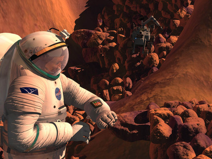 Astronaut at work on Mars.
