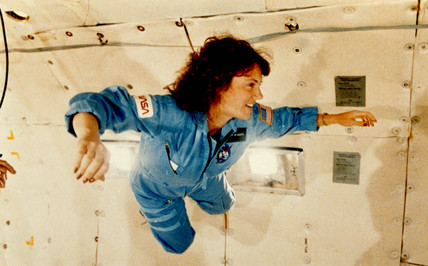 Christa McAuliffe experiences weightlessness, 1986.