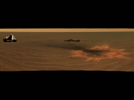Heat shield impact site of Mars Exploration Rover 'Opportunity', 2004.