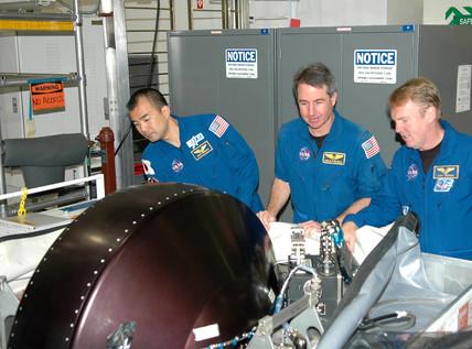 'Return to Flight' mission astronauts, Kennedy Space Centre, USA, 2005.