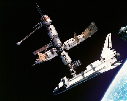 Atlantis docking with Mir, June 1995.