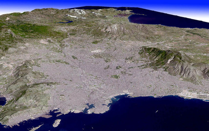 Athens from space, April 2004.