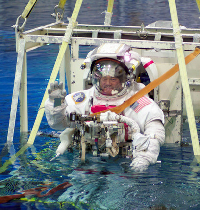 Astronaut training at the Neutral Buoyancy Laboratory, USA, 2004.
