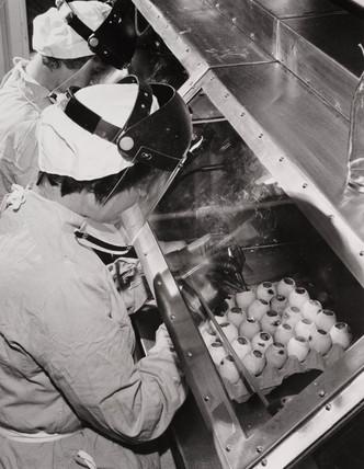 Manufacturing anti-flu vaccine, 19 February 1962.