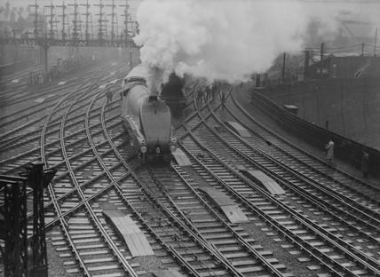 LNER express train 'Silver Jubilee' leaving Newcastle.