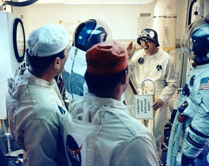 Astronauts joking around before Apollo 14 mission, 31 January 1971.
