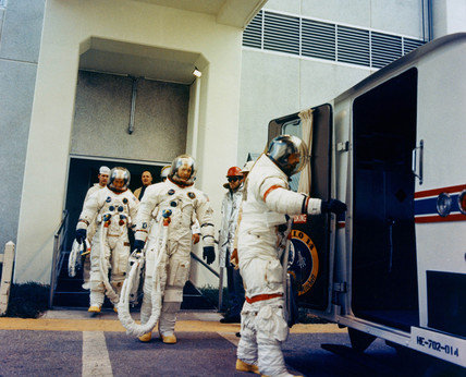 Apollo 14 astronauts performing a test, 19 January 1971.