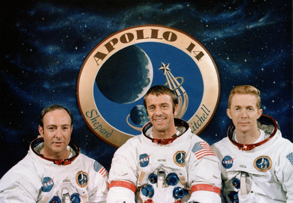 Apollo 14 astronauts and mission emblem, December 1970.