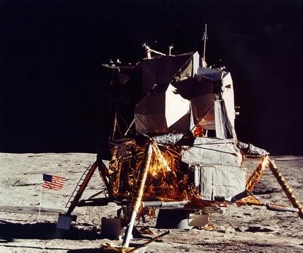 Apollo 14 lunar module on the Moon, February 1971.
