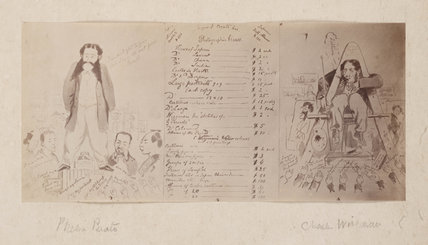 Price list, with caricature of Felice Beato and Charles Wirgman, 1864-1867.