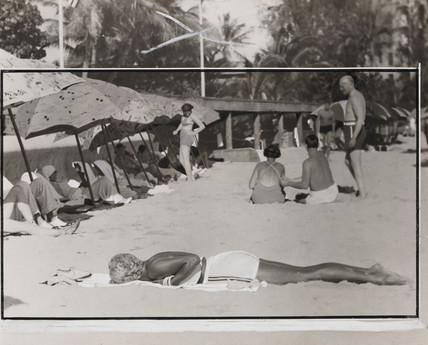 On the sands of Waikiki Beach, Honolulu, 14 August 1937.