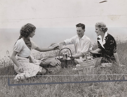 Young man with two women on a picnic, September 1939.