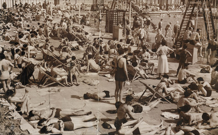 Suntanned - sun seekers at Enfield, 6 June 1937.